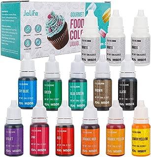 14Packs Food Coloring Set, 12 Color Liquid Gel Vibrant Food Color Tasteless Food Dye for Baking, Icing, Cake Decorating, Fondant, Cooking, Slime Making DIY Supplies Kit - .35 fl. Oz (10 ml) Bottles