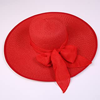 AINIYF Women's Sun Hat, Summer Leisure Outdoor Sun Protection UV Protection Straw Hat (Color : Red)