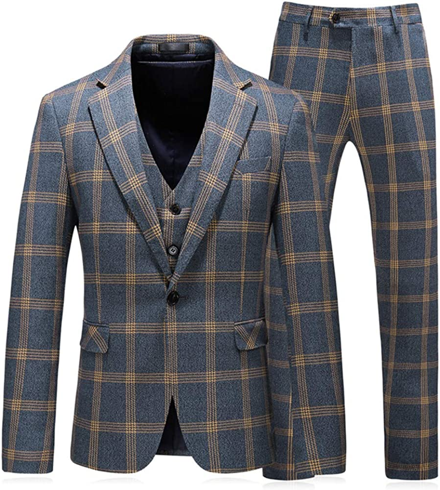 MOGU Mens Plaid 3 Ranking TOP9 Piece New products, world's highest quality popular! Suit Fit Party Tuxe Prom Windowpane Slim