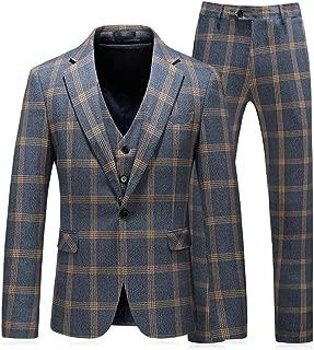 Mens Slim Fit 3 Piece Plaid Suits Windowpane Prom Party Tuxedo Set