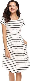 Halife Women's Summer Casual Stripe Elastic Waist Loose Beach Midi Dress