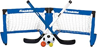 Franklin Sports Indoor Goal Set - Includes 2 Adjustable Hockey Sticks, 2 Foam Hockey Balls, 1 Street Hockey Ball, and 1 Mini Soccer Ball