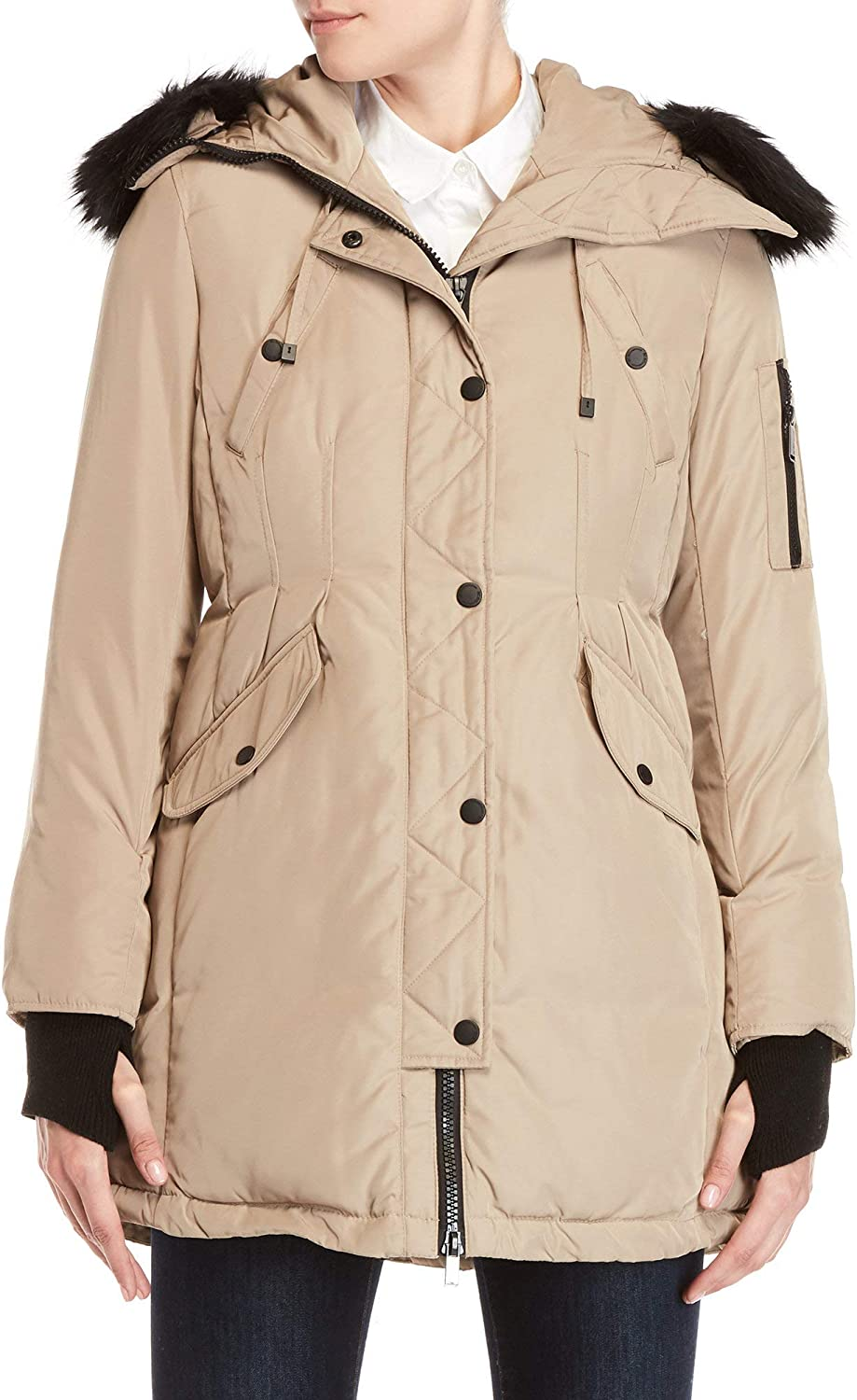 BCBGeneration Fur Hooded Puffer Jacket Beige