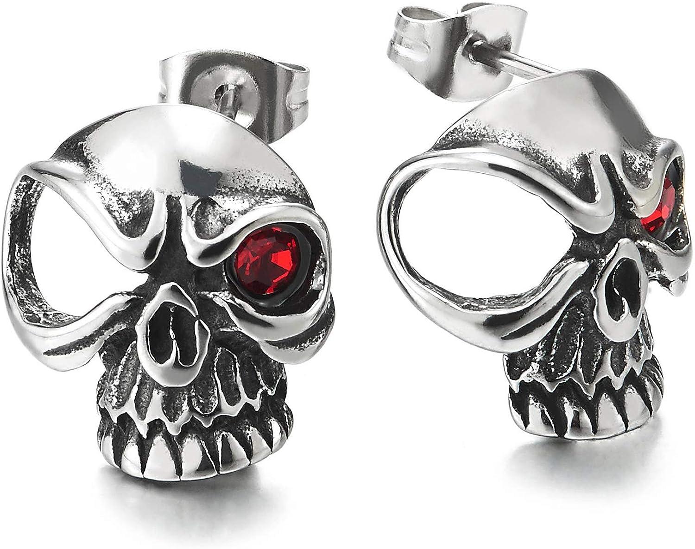 Pair Mens Women Stainless Steel Viking One-eye Skull Stud Earrings with Red CZ Eye Gothic Punk Biker
