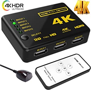 (Upgraded Version) HDMI Switch Splitter,Wewdigi Intelligent 5-Port HDMI Switch, Supports 4k@60HZ,3D,HD1080P, with IR Remote for PS4 Xbox Apple TV Fire Stick Blu-Ray Player