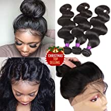 Indian Virgin Hair Body Wave 360 Lace Frontal Closure with Bundles 8A Unprocessed Body Wave Human Hair with 360 Frontal Body Wave 360 Lace Frontal with Bundles (20 20 20+18 360frontal, Natural Color)