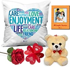 """Indigifts Valentine Gifts for Girlfriend Quote Cushion Cover 12""""x12"""" with Filler, Cute Teddy, Artificial Rose & Photo Magnet - Birthday Gift for Boyfriend, for Wife, Love Gift for Him"""