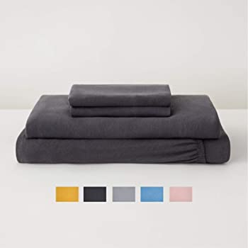 Tuft & Needle Jersey Sheet Set, Extra Soft Cotton and Tencel Lyocell - Twin - Charcoal