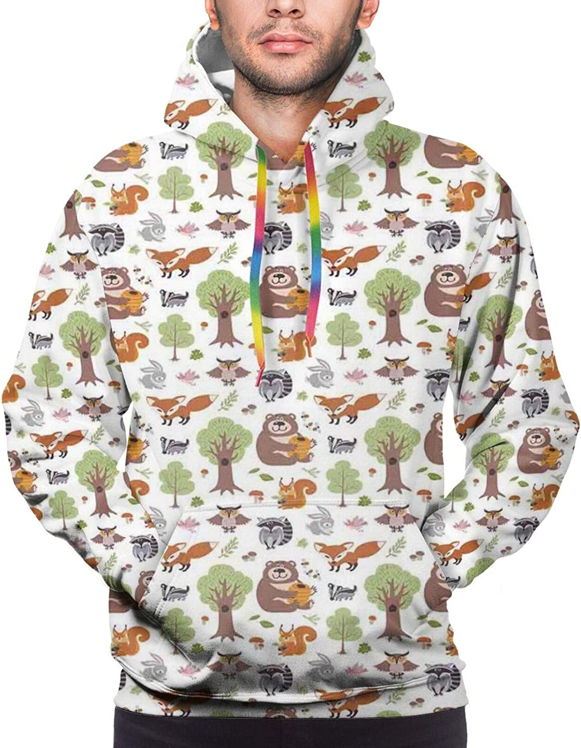 Men's Hoodies Sweatshirts,Doodle Woodland Animals of Wild Nature Composition Colorful Leaves Birds and Berries