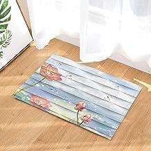 Creativity Decor Bath Rug, Lotus Dragonfly Scraps Of Paper Art Printing, Non-Slip Doormat Floor Entryways Indoor Front Doo...
