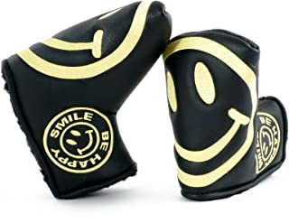 19th Hole Custom Shop Smile Face Golf Headcover for Midsize Mallet Putter, Black