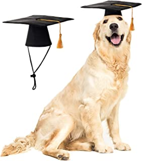LKEX Pet Graduation Caps Small Dog Graduation Hats with Yellow Tassel Costume for Dogs Cats Holiday Costume Accessory