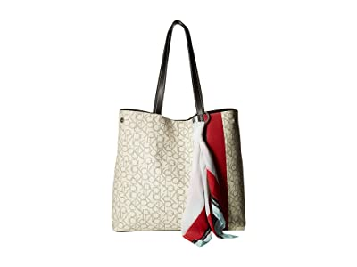 Calvin Klein Rachel Monogram Tote (White/Red/Black) Tote Handbags
