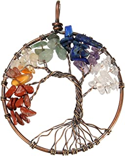 Chakra Stones,Tree of Life Pendant,BANGCHIC Amethyst Rose Crystal Necklace Gemstone Chakra Jewelry Mothers Day Gifts (Red bronze)