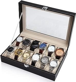 SAPU Black Leather 12 Watch Box Case Organizer Display Storage Tray for Men & Women