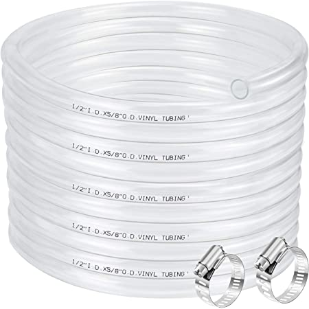 "1/2"" ID 5/8"" OD Clear Vinyl Tubing-50 Ft, 60PSI, Flexible Plastic Tubing, BPA Free and Non-Toxic, Multipurpose Clear Tubing Reinforced with 2 Stainless Screw Clamps"