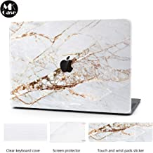 Laptop Case for MacBook Pro 13 Inch Keyboard Cover Plastic Hard Shell Touch Bar 4 in 1 Bundle with Screen Protector for Mac Pro 13 '' (A2159/A1706/A1708/A1989), Gold Slash Marble