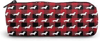 Bassotto Buffalo plaid astuccio portapenne con cerniera portapenne borsa per studenti cancelleria cosmetici borsa da viaggio