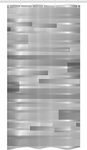 """Ambesonne Modern Stall Shower Curtain, Futuristic Striped Web Forms Contemporary Graphic Fusion Artwork Print Illustration, Fabric Bathroom Decor Set with Hooks, 36"""" X 72"""", Silver Grey"""