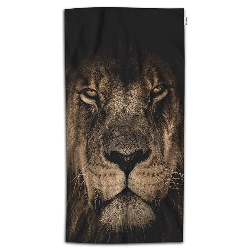 Moslion Lion Bath Towel Wild King of Animals Lion Head Cruel Eyes Brown Feathers Towel Soft Microfiber Baby Hand Beach Towel for Kids Bathroom 32x64 Inch