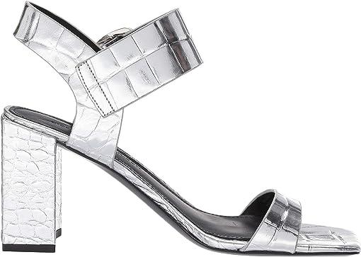 Silver Croc Print Leather