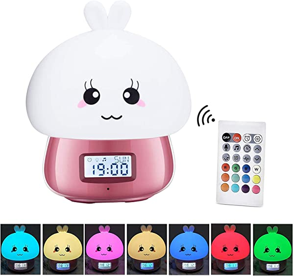Night Light Clock For Kids Cute Animal Bunny Nightlights For Baby Toddler Children Girls Kids Sleep Training Clock Rechargeable 7 Changing Colors Remote Contorl Table Lamp For Bedroom Pink