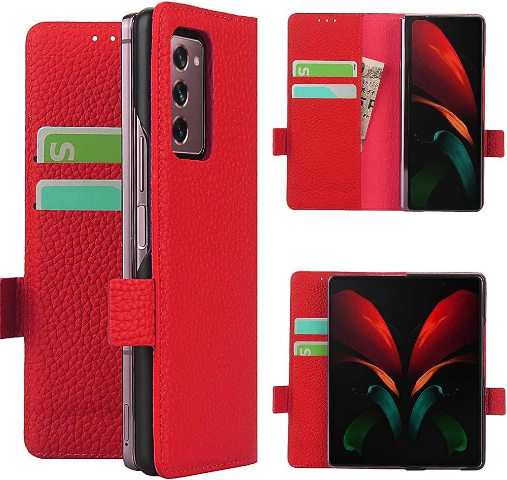 Copmob cover samsung galaxy z fold2 5g flip portafoglio porta carte di credito in pelle A - Rosso