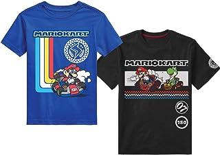 Nintendo Super Mario Bros. Boys Mario Kart & Friends Graphic Short Sleeve T-Shirts (5/6, Black) 2Pack
