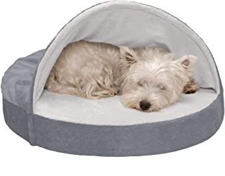 FurHaven Pet Dog Bed   Cooling Gel Memory Foam Orthopedic Round Microvelvet Snuggery Pet Bed for Dogs & Cats, Gray, 26-Inch