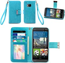 IZENGATE HTC One M9 (2015) Wallet Case - Executive Premium PU Leather Flip Cover Folio with Stand (Turquoise Blue)