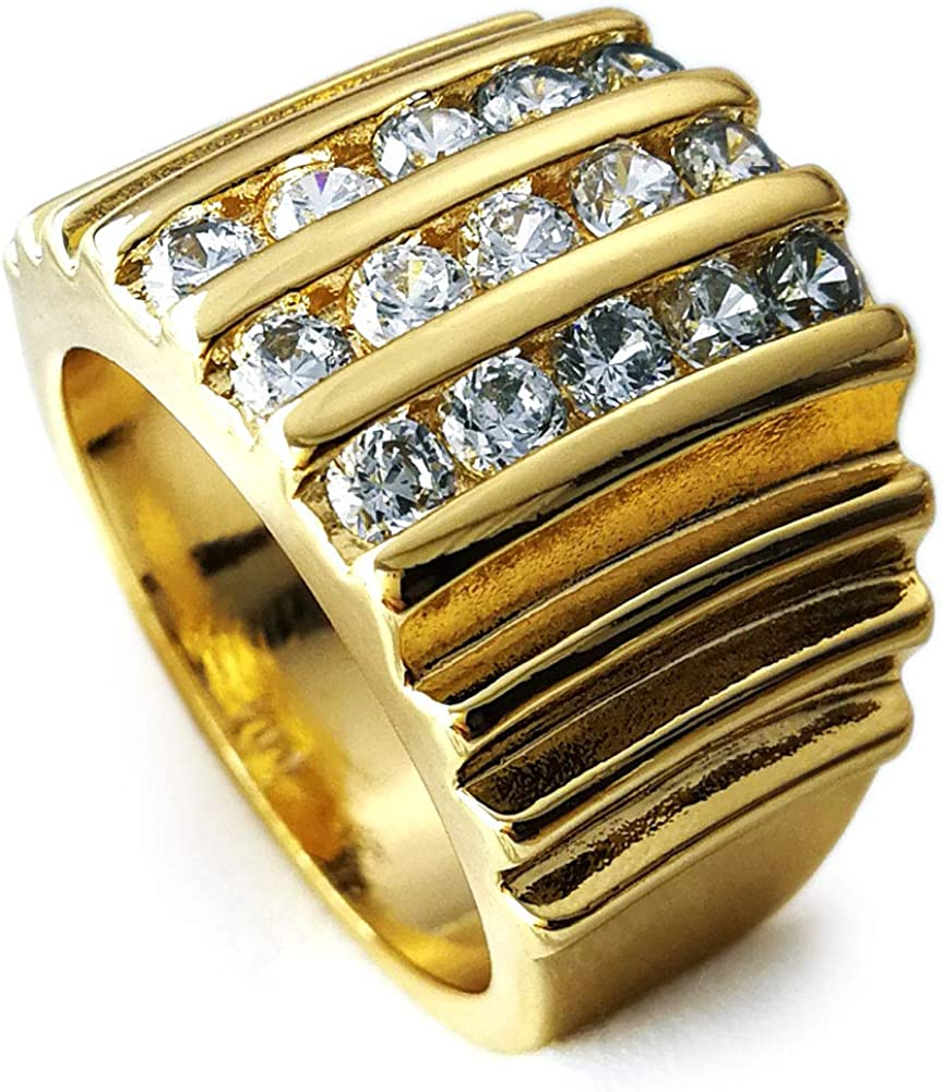 Ahappy-18k Gold Filled Men's Wedding Engagement Ring Band R117