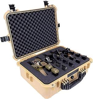 Elkton Outdoors Hard 5 Gun Case, Fully Customizable Hand-Gun Pistol Case, Holds 5 Handguns and 10 Magazines, Crush Resistant and Waterproof