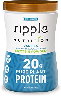 Ripple Vegan, Dairy-Free Protein Powder, Vanilla   20g Clean, Plant-Based Protein   Perfect for Smoothies, Post Workout Recovery and Meal Replacement
