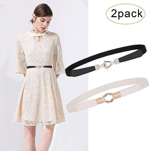 Fashion Skinny Belt for Women Elastic Thin Waist Belt Stretch cincher for Dress
