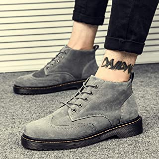 Men's Stylish Mid Top Boots, Suede Fashion Work And Casual Slip on Ankle Boots Men Formal Dress Ankle Oxford Boots