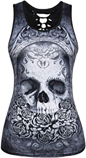 Camisetas sin Mangas Mujer,Lenfesh Camiseta gótico Mujer Negro Punky Chaleco Blusa
