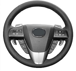 BAWAQAF Funda de piel sintética para volante de coche, para Mazda 3 2011-2015 CX-7 CX-9 Mazda 5 2011-2013 cubierta cosida ...