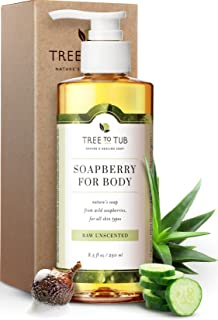 Ultra Gentle Sensitive Skin Body Wash by Tree To Tub - pH 5.5 Balanced Fragrance Free Body Wash. Eczema Body Wash for Women and Men, with Wild Soapberries Organic Aloe Vera 8.5 oz