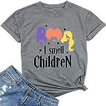 I Smell Children Shirt Women Hocus Pocus Tshirt Sanderson Sister Graphic Print Short Sleeve Halloween Tshirt Tee Tops