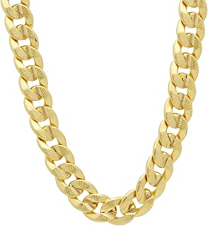 The Bling Factory 9mm 14k Gold Plated Pressed Cuban Link Curb Chain Necklace + Microfiber Jewelry Polishing Cloth