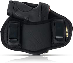 Tactical Pancake Gun Holster Houston - ECO Leather Concealed Carry Soft Material   Suede Interior for Protection   IWB   Right Hand   Fit: Glock 19 23 32 26 27 33 30   M&P Shield, XDs, Taurus PT111