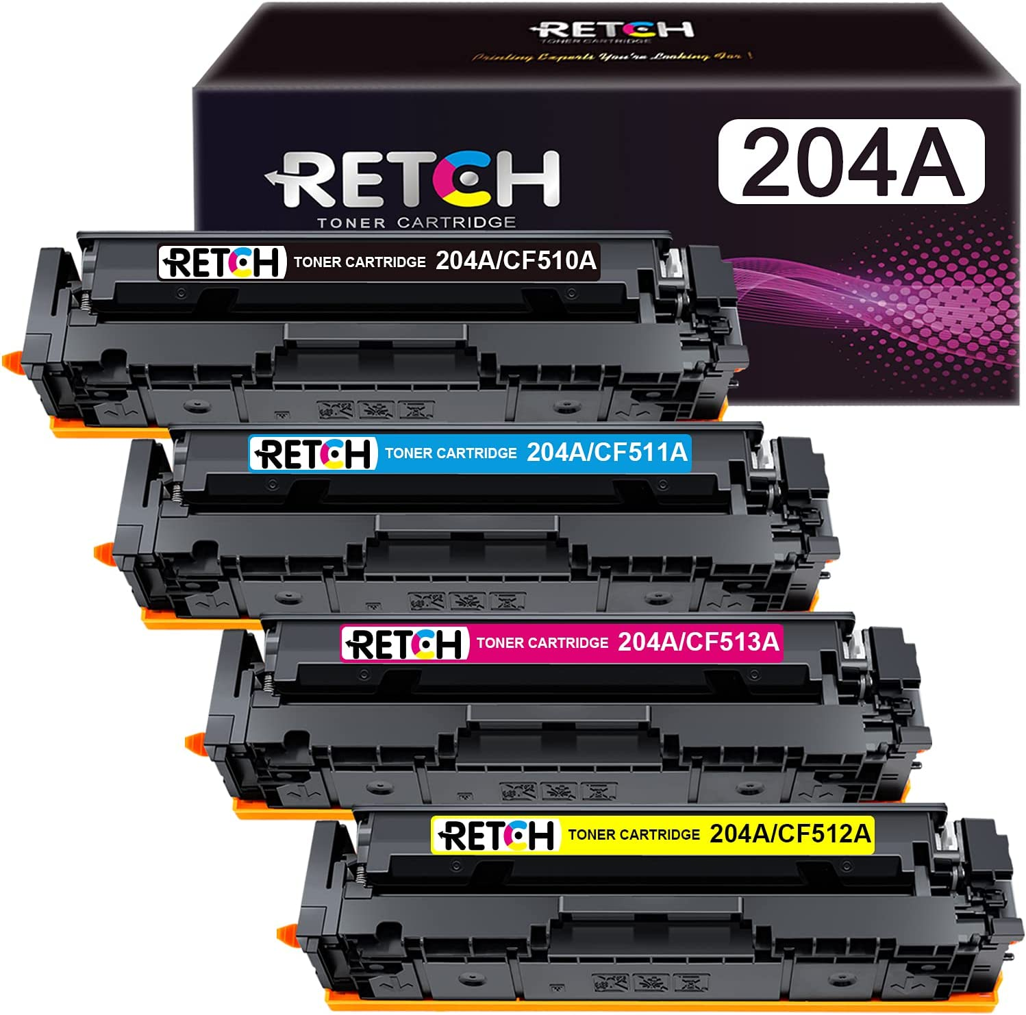 RETCH Compatible Toner Cartridges 204A Tray Replacement for HP 204 204A CF510A CF511A CF512A CF513A for HP Pro MFP M180nw M180n M181 M181fw M154a M154nw Printer (Black, Cyan, Magenta, Yellow)