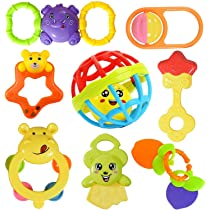 Cable World Colourful Plastic Non Toxic pack of 8 Attractive Rattle