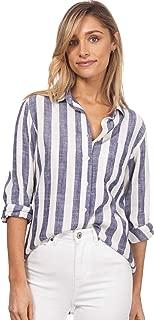 CAMIXA Women's Striped Shirt Casual Long Sleeve Button-Down Drapy Collar Blouse