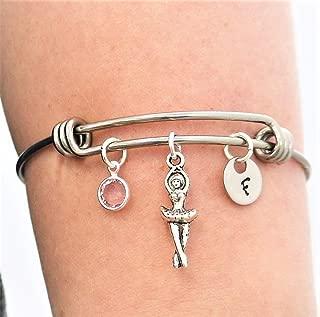 Ballerina Bracelet - Personalized Birthstone & Initial - Ballerina Jewelry - Ballet Recital