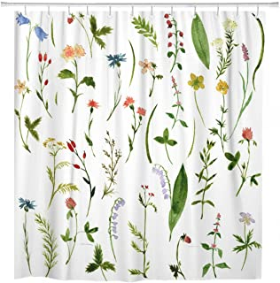 ArtSocket Shower Curtain Green Wild of Watercolor Drawing Herbs and Flowers Plant Home Bathroom Decor Polyester Fabric Waterproof 72 x 72 Inches Set with Hooks