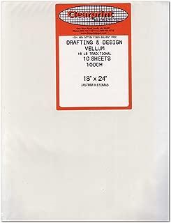 Clearprint 1000H Series 18 x 24 Inches Unprinted Vellum, 10-Sheet Pack (CP10201222)