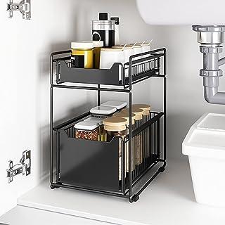 QINGQING Panier de Rangement Coulissant à 2 Niveaux,sous étagère d'évier,sous évier avec tiroir Coulissant,Organisateur so...