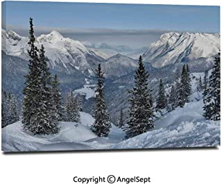 Canvas Prints Modern Art Framed Wall Mural Epic Winter Landscape with Snowy Pine Trees in Switzerland Woods Print Wall Decorations for Living Room Bedroom Dining Room Bathroom Office,White Green