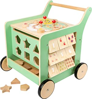 Small Foot Wooden Toys Premium Pastel Wooden Baby Walker and playcenter Move it! Designed for Toddlers 12+ Months, Multi (...